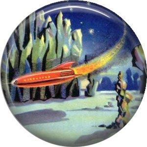 Landing in a Red Rocket Ship, Retro Future 1 Inch Pinback Button Badge Pin - 0669