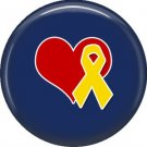 Yellow Ribbon with Heart, Support Our Troops 1 Inch Button Badge Pin - 5009