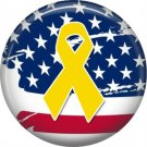 Yellow Support our Troops Ribbon on Flag Background, 1 Inch Button Badge Pin - 5015