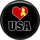 Heart and Yellow Support Our Troops USA, 1 Inch Button Badge Pin - 5017