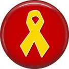 Yellow Support Our Troops Ribbon on Red Background, 1 Inch Button Badge Pin - 5025
