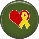 Yellow Support Our Troops Ribbon and Heart on Green Background, 1 Inch Button Badge Pin - 5026