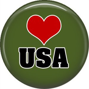 USA Heart Support Our Troops 1 Inch Pinback Button Badge Pin - 5033