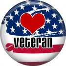 Veteran on Flag Support Our Troops 1 Inch Pinback Button Badge Pin - 5034