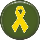 Yellow Ribbon on Green, Support Our Troops 1 Inch Pinback Button Badge Pin - 5036