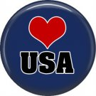 USA on Blue, Support Our Troops 1 Inch Pinback Button Badge Pin - 5046