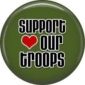 Support Our Troops on Green, 1 Inch Pinback Button Badge Pin - 5049