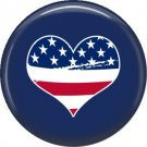 Flag in Heart, Support Our Troops 1 Inch Pinback Button Badge Pin - 5050