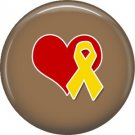 Heart and Yellow Ribbon on Tan, Support Our Troops 1 Inch Pinback Button Badge Pin - 5054