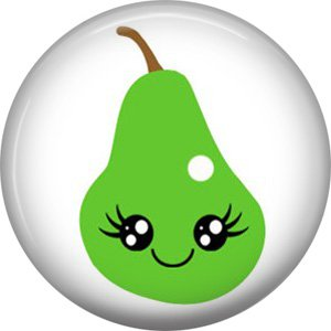 Pear, Fruit Cuties 1 Inch Button Badge Pin - 0291