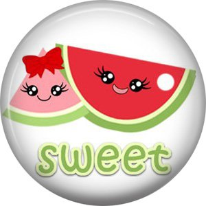 Watermelon, Fruit Cuties 1 Inch Button Badge Pin - 0292