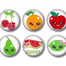 8 Fruit Cuties on 1 Inch Pinback Button Badge Pins - Set 1
