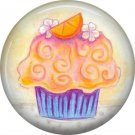 Orange Cupcake, 1 Inch Button Badge Pin - 0313