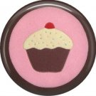 Cupcake on Pink and Brown Background, 1 Inch Button Badge Pin - 0312