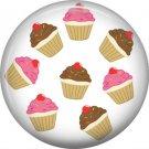 Mini Cupcakes, 1 Inch Button Badge Pin - 0310