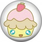 Cupcake with Strawberry on Top, 1 Inch Button Badge Pin - 0309