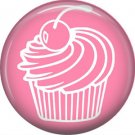 Pink and White Cupcake, 1 Inch Button Badge Pin - 0308