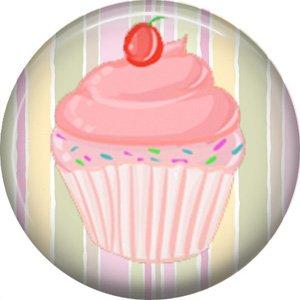 Pink Cupcake, 1 Inch Button Badge Pin - 0307