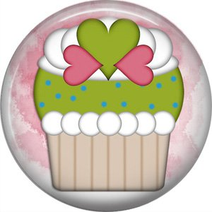 Cupcake with Hearts, 1 Inch Button Badge Pin - 0304