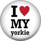 I Love My Yorkie, Dog is Love 1 Inch Pinback Button Badge Pin - 6126