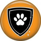 Dog Shield on Orange, Dog is Love 1 Inch Pinback Button Badge Pin - 6129