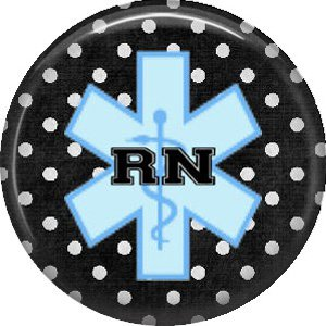 RN on Polka Dot Background, 1 Inch Button Badge Pin of Occupation Nurse - 0247