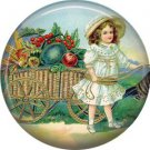 Girl Pulling Cart of Produce, 1 Inch Pinback Button of Vintage Thanksgiving Image - 0332