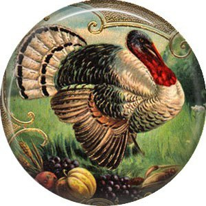 Turkey with Fruit, 1 Inch Pinback Button Badge Pin of Vintage Thanksgiving Image - 0328
