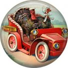 Turkeys in Automobile, 1 Inch Pinback Button Badge Pin of Vintage Thanksgiving Image - 0327