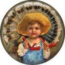 Farmer Boy Carries Turkey, 1 Inch Pinback Button of Vintage Thanksgiving Image - 0326