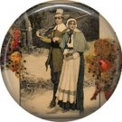 Pilgrim Couple, 1 Inch Pinback Button of Vintage Thanksgiving Image - 0323