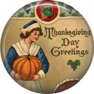 Pilgrim Lady with Pumpkin, 1 Inch Pinback Button of Vintage Thanksgiving Image - 0319
