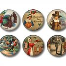 Set of 15 Vintage Thanksgiving 1 inch Scrapbook Flair Medallions - Set 1