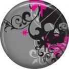 Black Skull on Gray Background, 1 Inch Punk Princess Button Badge Pin - 0337