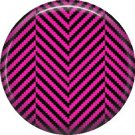 Hot Pink Black Houndstooth in Chevron Pattern, 1 Inch Punk Princess Button Badge Pin - 0342