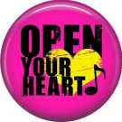 Open Your Heart on Pink Background, 1 Inch Punk Princess Button Badge Pin - 0345