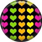 Multi Colored Hearts, 1 Inch Punk Princess Button Badge Pin - 0346