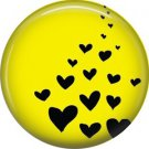 Black Hearts on Yellow Background, 1 Inch Punk Princess Button Badge Pin - 0347