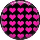 Pink Hearts on Black Background, 1 Inch Punk Princess Button Badge Pin - 0350