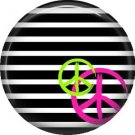 Peace Sign on Black and White Stripes, 1 Inch Punk Princess Button Badge Pin - 0351
