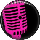 Hot Pink Microphone, 1 Inch Punk Princess Button Badge Pin - 0353