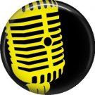 Vintage Microphone in Yellow, 1 Inch Punk Princess Button Badge Pin - 0361