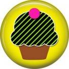 Green and Black Stripe Cupcake, 1 Inch Punk Princess Button Badge Pin - 0357