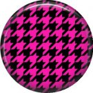 Black and Pink Houndstooth, 1 Inch Punk Princess Button Badge Pin - 0362