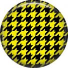 Yellow and Black Houndstooth, 1 Inch Punk Princess Button Badge Pin - 0365