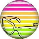 Sunglasses on Stripe Background, 1 Inch Pinback Punk Princess Button Badge Pin - 0369