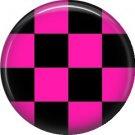 Hot Pink and Black Checkerboard, 1 Inch Pinback Punk Princess Button Badge Pin - 0370