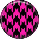 Large Hot Pink and Black Houndstooth Pattern, 1 Inch Pinback  Punk Princess Button Badge Pin - 0374