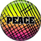 Peace on Crosshatch Background, 1 Inch Pinback Punk Princess Button Badge Pin - 0377