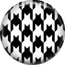 Large Black and White Houndstooth Pattern, 1 Inch Pinback Punk Princess Button Badge Pin - 0378